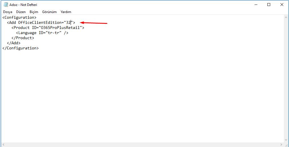 Ofis xml bit seçimi