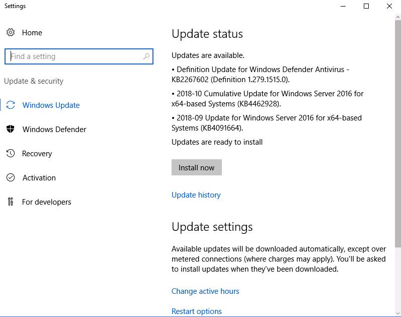 windows server 2016 windows update kapatma