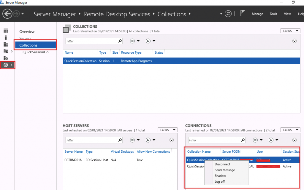 Terminal Server Remote Shadow Control